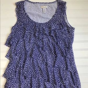 Chicos Size 0 Blue White Ruffle Tank Top Blouse